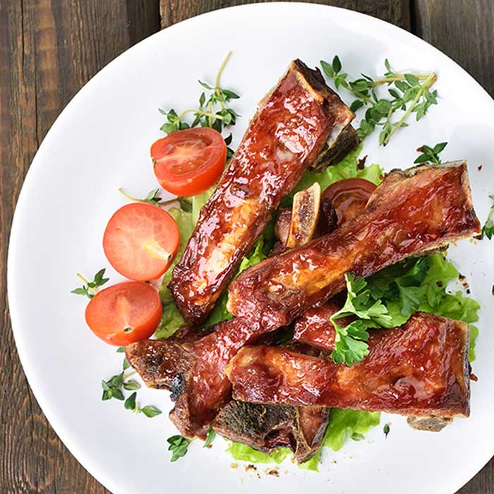 Slow roasted BBQ ribs