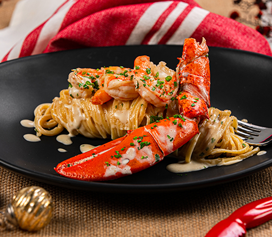 Lobster Claws and Shrimp on Linguini Pasta