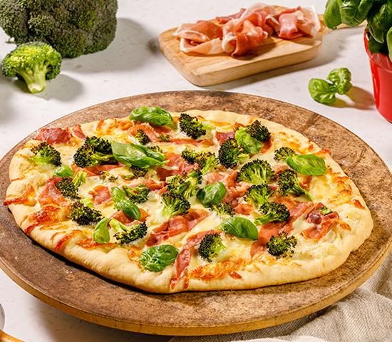 Broccoli And Prosciutto Pizza With Fresh Basil On A Lemon Garlic Sauce Calgary Co Op