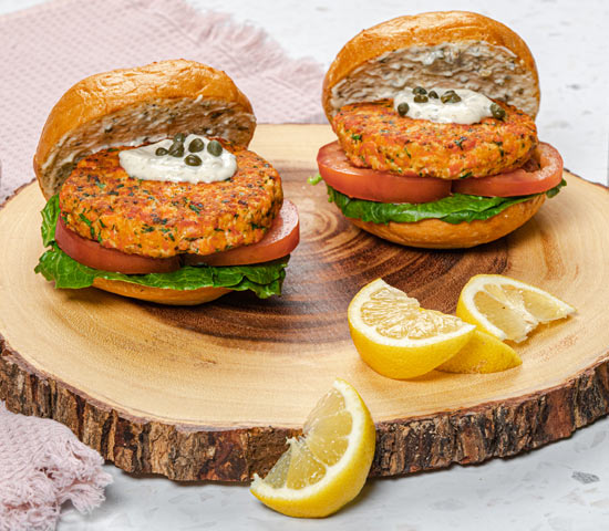 Fresh Salmon Burgers with Caper Mayo