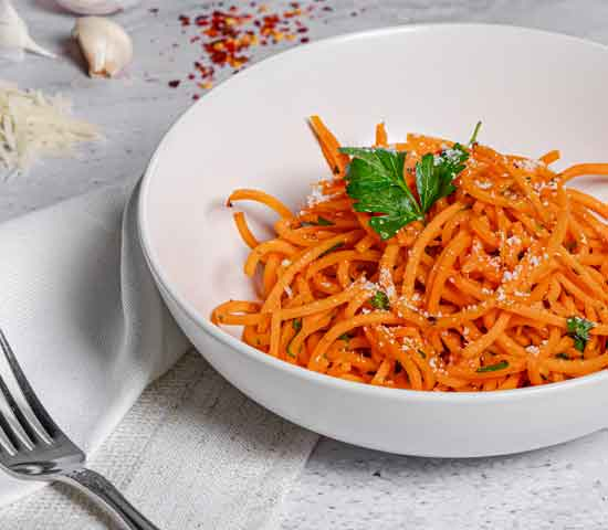 Sweet Potato Noodles tossed in a Garlic Oil with Parsley and Chili Flakes