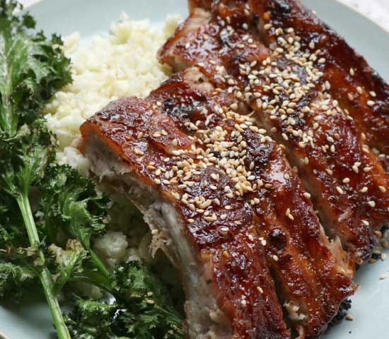 Hoisin Pork Ribs with Cauliflower Rice